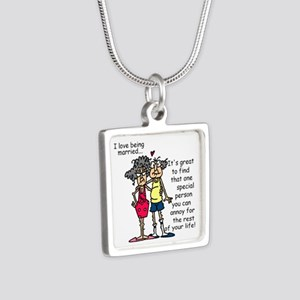 Marriage Humor Silver Square Necklace