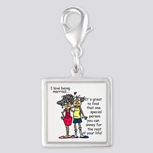 Marriage Humor Silver Square Charm