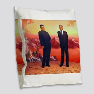 Kim Il Sung et Kim Jong Il - D Burlap Throw Pillow