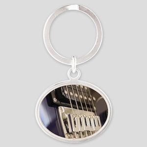 Blue Guitar Oval Keychain