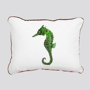 Green seahorse Rectangular Canvas Pillow