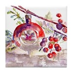 Christmas Bulb In Red Tile Coaster