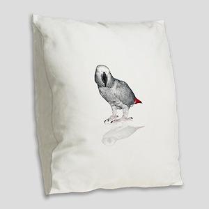 African Grey Parrot Burlap Throw Pillow