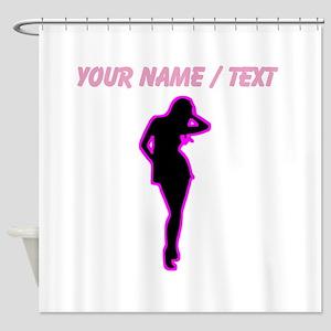 Custom Hot Pink Pin Up Shower Curtain