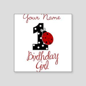 1 Ladybug Birthday Girl - Your Name Sticker