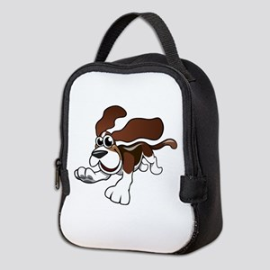 Cartoon Basset Hound Neoprene Lunch Bag