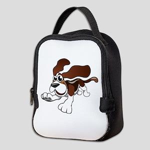 Cartoon Basset Hound Neoprene Lunch Bag