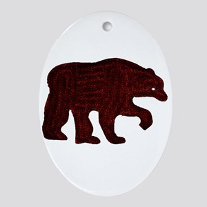 BROWN BEAR WALKING Oval Ornament