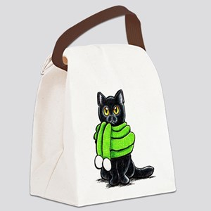 Black Cat Scarf Canvas Lunch Bag