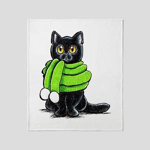 Black Cat Scarf Throw Blanket