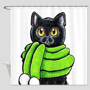 Black Cat Scarf Shower Curtain
