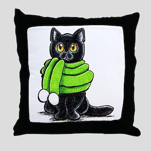 Black Cat Scarf Throw Pillow