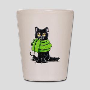 Black Cat Scarf Shot Glass