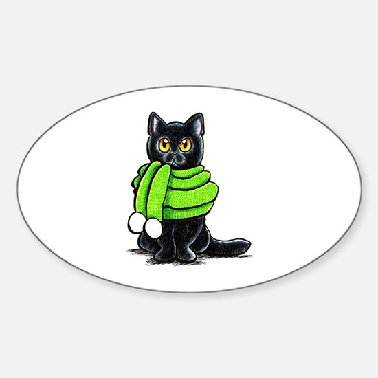 Black Cat Scarf Sticker (Oval)
