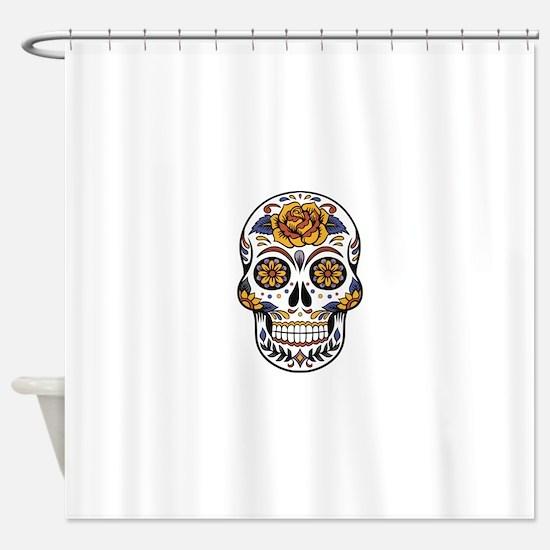 Yellow Rose Sugar Skull Shower Curtain