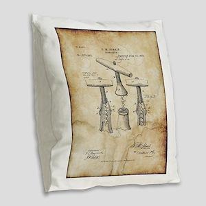 Corkscrew Patent Drawing From Burlap Throw Pillow