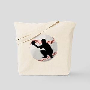 Baseball Catcher Silhouette Tote Bag