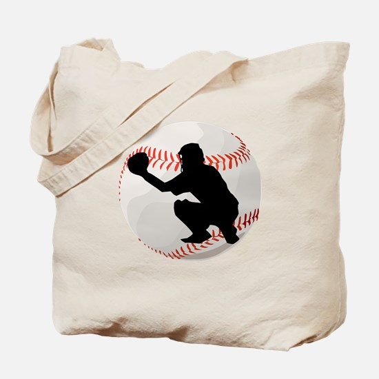 Baseball Catcher Silhouette Tote Bag