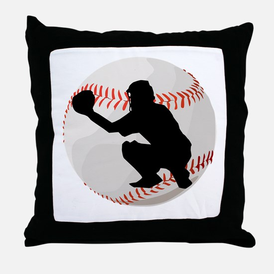 Baseball Catcher Silhouette Throw Pillow