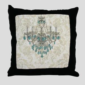 blue chandelier damask Throw Pillow