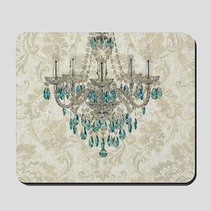 blue chandelier damask Mousepad