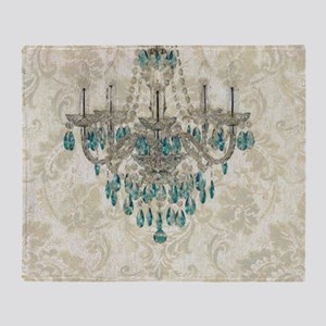 blue chandelier damask Throw Blanket