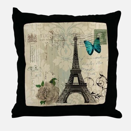 paris eiffel tower butterfly damask Throw Pillow