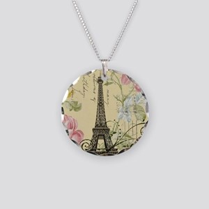 floral paris eiffel tower ro Necklace Circle Charm
