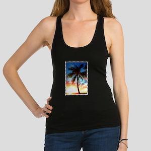 Palm Tree Sunset Stamp Racerback Tank Top