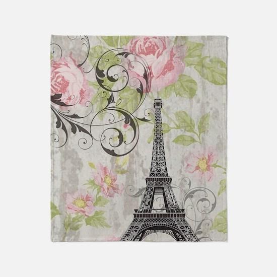 floral paris eiffel tower roses Throw Blanket