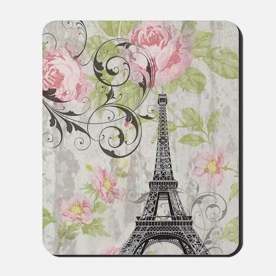 floral paris eiffel tower roses Mousepad