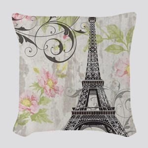 floral paris eiffel tower rose Woven Throw Pillow