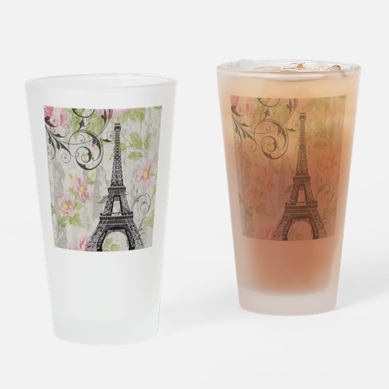 floral paris eiffel tower roses Drinking Glass