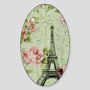 floral paris eiffel tower roses Sticker (Oval)