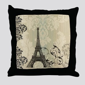 vintage paris eiffel tower damask Throw Pillow