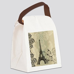vintage paris eiffel tower damask Canvas Lunch Bag