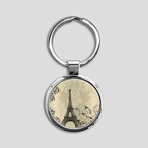 vintage paris eiffel tower damask Round Keychain