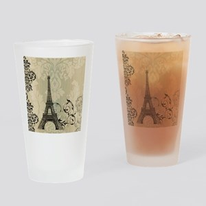 vintage paris eiffel tower damask Drinking Glass
