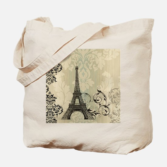 vintage paris eiffel tower damask Tote Bag