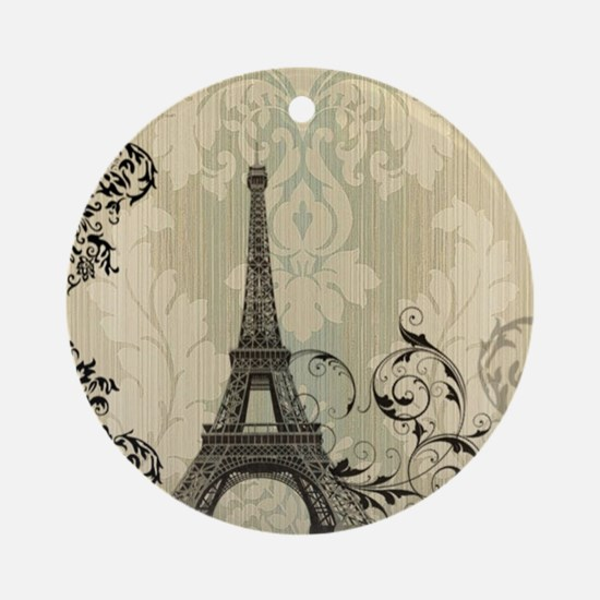 vintage paris eiffel tower damask Round Ornament