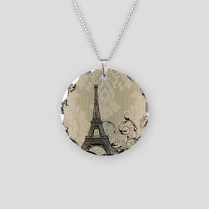 vintage paris eiffel tower d Necklace Circle Charm