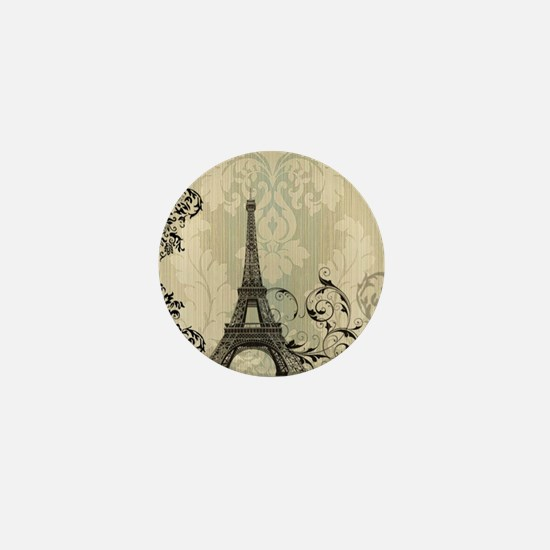 vintage paris eiffel tower damask Mini Button