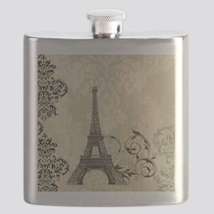 vintage paris eiffel tower damask Flask