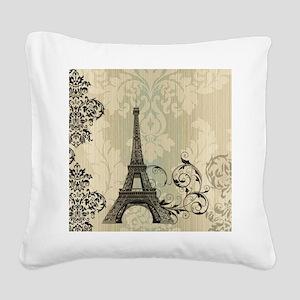 vintage paris eiffel tower da Square Canvas Pillow
