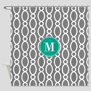 Vine Pattern Monogram Gray Turquoise Shower Curtai