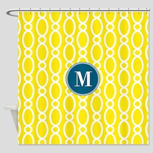 Vine Pattern Monogram Yellow Teal Shower Curtain