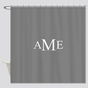 Solid Gray with Monograms Shower Curtain