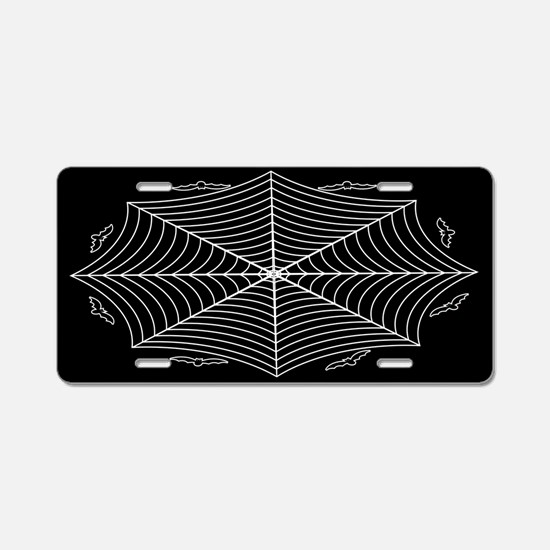 Spider web and bats Aluminum License Plate