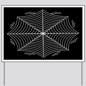 Spider web and bats Yard Sign