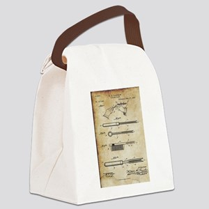 1889 Patent for Curling Tongs - V Canvas Lunch Bag